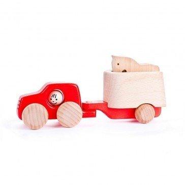 Van rouge avec remorque et cheval - Fabricant Polonais