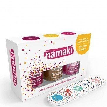 Coffret 3 vernis Framboise Or Fuchsia + lime - Namaki