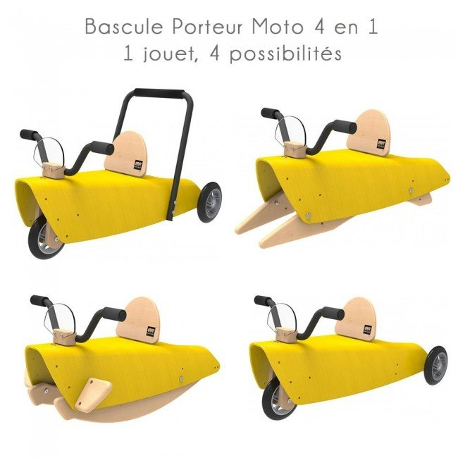 bascule porteur moto 4 en 1 jaune chou du volant. Black Bedroom Furniture Sets. Home Design Ideas