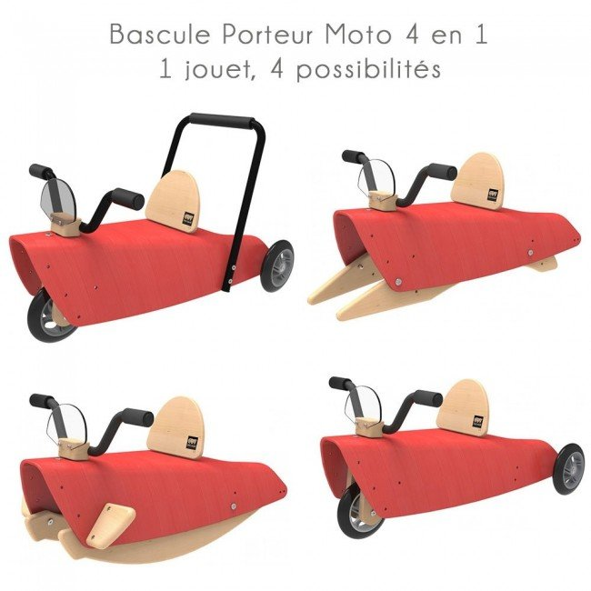 bascule porteur moto 4 en 1 rouge chou du volant. Black Bedroom Furniture Sets. Home Design Ideas