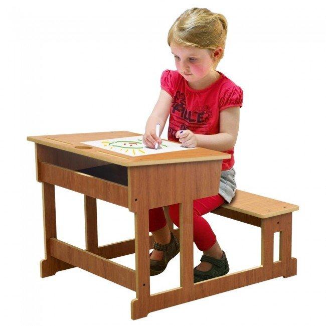 Bureau l 39 ancienne - Bureau en bois enfant ...