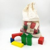 Blocs en bois colorés 30 pièces