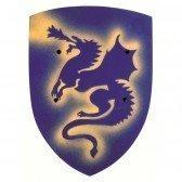 Bouclier en bois Dragon - bleu