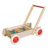 Chariot de marche en bois avec cubes colorés