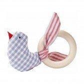 Hochet Oiseau en tissu avec anneau