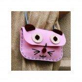 Kit de couture sac Chat rose