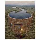 Micro Puzzle en bois Barrage Bibliothèque - 40 pièces