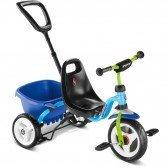 Tricycle Puky avec canne et benne basculante - bleu