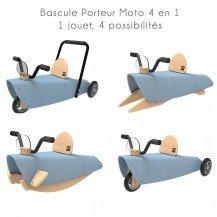 Bascule Porteur Moto 4 en 1 bleu - Chou Du Volant