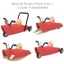 Bascule Porteur Moto 4 en 1 rouge - Chou Du Volant