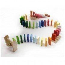 Cascade de dominos en bois 44 pièces - Artisan Tchèque