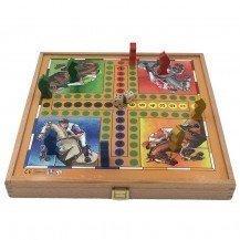 Coffret en bois 4 jeux de société traditionnels - Artisan du Jura