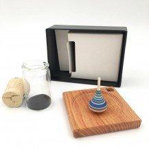 Coffret toupie en bois avec plateau-Bleu - fabricant autrichien