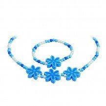 Collier et bracelet enfant Fleurs bleues - Artisan Tchèque