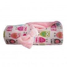 Couverture Papillon rose bonbon - hiboux roses - Moncalin