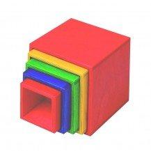 Cubes gigognes en bois multicolores - NIC TOYS