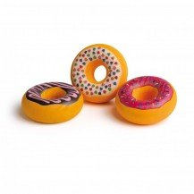 Lot de 3 donuts en bois colorés