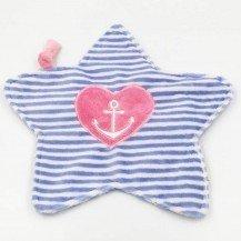 Doudou petite étoile ancre marine nœud rose - Moncalin