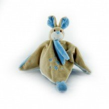 Doudou Lapin bleu - attache tétine - Mailou Tradition