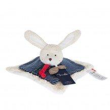 Doudou Lapin plat en coton biologique - 25 x 25 cm - Maïlou Tradition