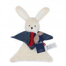 Doudou Lapin rayé en coton biologique - 22 cm - Maïlou Tradition