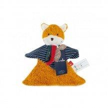 Doudou renard rayé en coton biologique - 22 cm - Maïlou Tradition