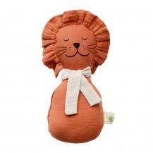 Doudou grelot Lion orange coton bio - aPuntBarcelona