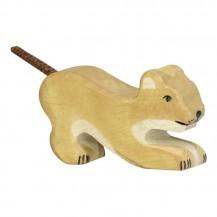 Lionceau jouant en bois Holztiger