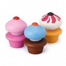 Lot de 3 Cupcakes en bois - Fabricant allemand