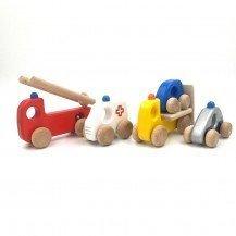 Lot de 4 véhicules en bois - Fabricant polonais