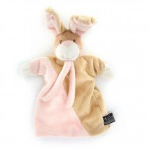 Doudou Marionnette Lapin rose - Mailou Tradition