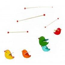 Mobile en bois Oiseaux colorés - Fabricant allemand