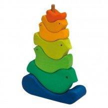 Oiseaux en bois à empiler - 7 pièces - Nic Toys