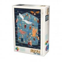Puzzle 1000 pièces Kürti Andrea - Les Hiboux - D-toys