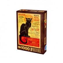 Puzzle 1000 pièces Poster Vintage - Collection Chat Noir - DToys