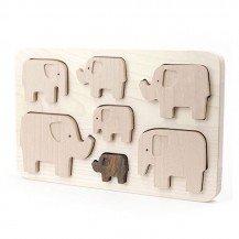 Puzzle à encastrement Eléphants - Artisan Polonais