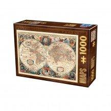 Puzzle 1000 pièces Carte du Monde Antique - Dtoys