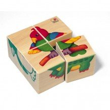 Cubes en bois Bébés Animaux du Zoo - Selecta