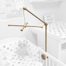 Support pour mobile en bois bébé avec croisillon - Artisan du Jura