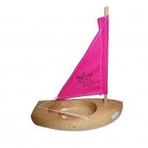 Thonier Petit Mousse 17 cm voile rose - Bateaux Tirot