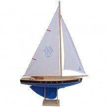 Grand voilier en bois coque bleue 53 cm - Bateaux Tirot