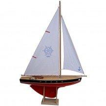 Grand voilier en bois coque rouge 53 cm - Bateaux Tirot