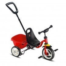 Tricycle avec canne et benne basculante - rouge - Puky