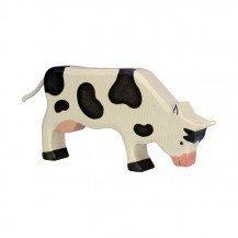 Vache en bois broutant Pie noir - Holztiger