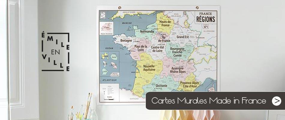 Emile en Ville, cartes géographiques au look vintage fabriquées en France