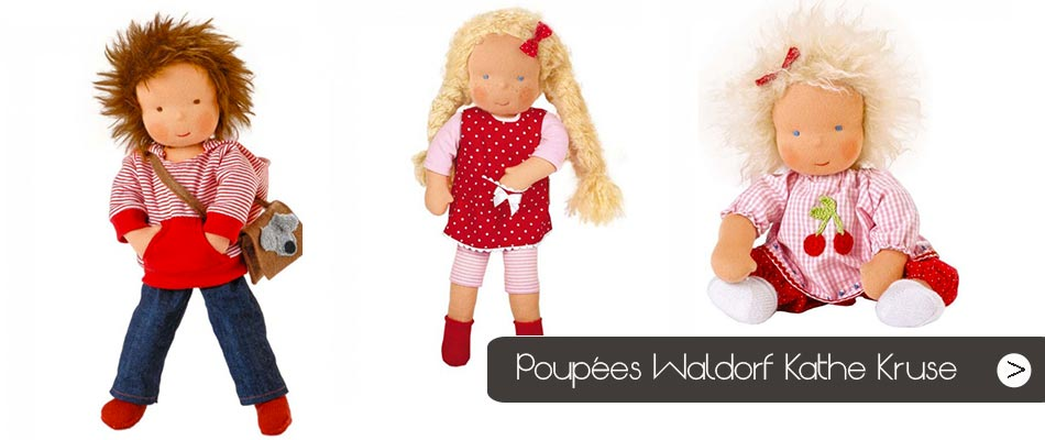 Découvrez notre sélection de poupées Waldorf Kathe Kruse, des poupées de chiffon à cajoler